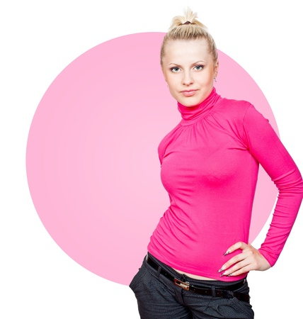 Beautiful blonde girl in pink turtleneck and makeup. Isolated on white background photo