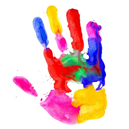 Close up von farbigen Handabdruck auf einem weißen Hintergrund
