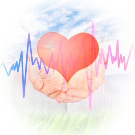 Health insurance concept. Hand and Heart photo