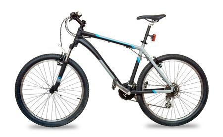 handle bars: Bicicleta de monta�a en bicicleta sobre fondo blanco Foto de archivo