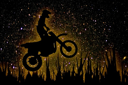 mx: MX Rider silhouette on night sky