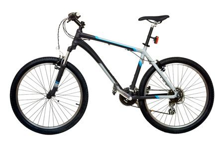 fiets: Mountainbike fiets op witte achtergrond Stockfoto