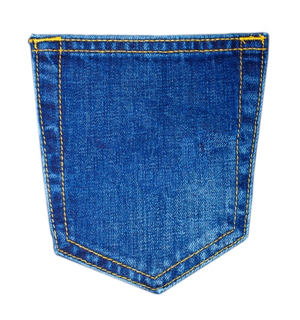 cotton  jeans: Back pocket of blue Jeans isolated on white