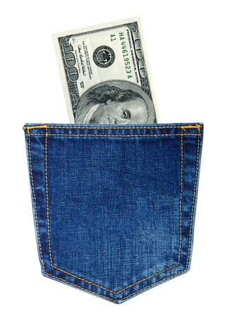 Hundred-dollars bills in back jeans pocket isolated on white photo