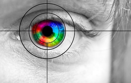 Closeup of the colorful human eye and the target photo