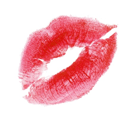 Womans kiss stamp on a white background photo