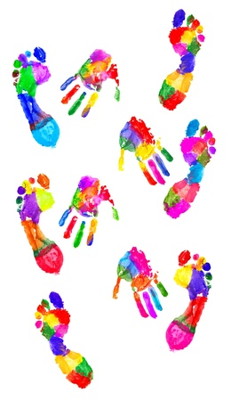 Colored handprint and colored footprint on white photo