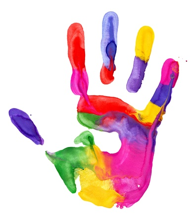 Close up of colored hand print on white background Standard-Bild