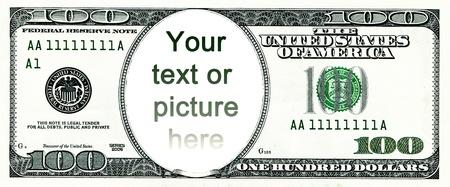 letra de cambio: Cien d�lares con un agujero en vez de una cara Foto de archivo