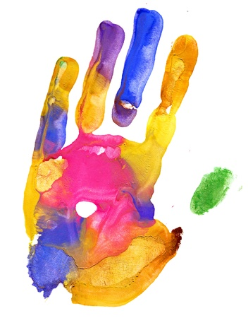 Close up of colored hand print on white background Stock Photo - 11990331
