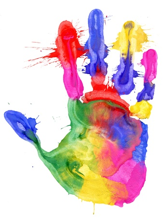 hand colored: Close up of colored hand print on white background Stock Photo