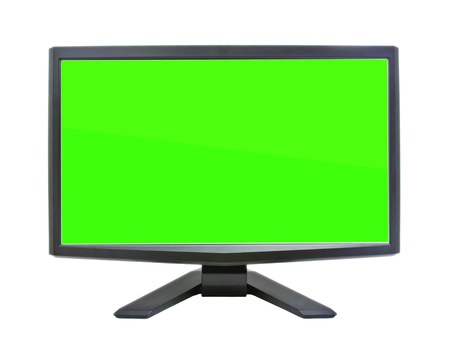 Computer monitor with green flat wide screen isolated on white