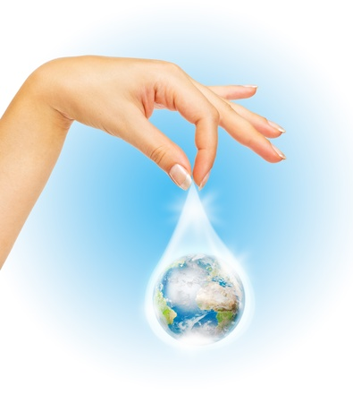 Drop of water with Earth inside and hand. The symbol of Save Planet Stock Photo - 12350434