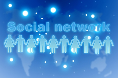 Social network concept. Group of people around the globe photo