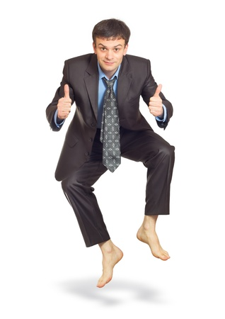 Jumping businessman isolated on white (with shadow) Stock Photo - 12350478