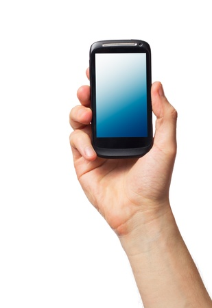 cell phone: Cell phone (smartphone with touchscreen) in male hand on white Stock Photo
