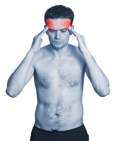 Man with headache isolated on white background. Monochrome photo with red photo