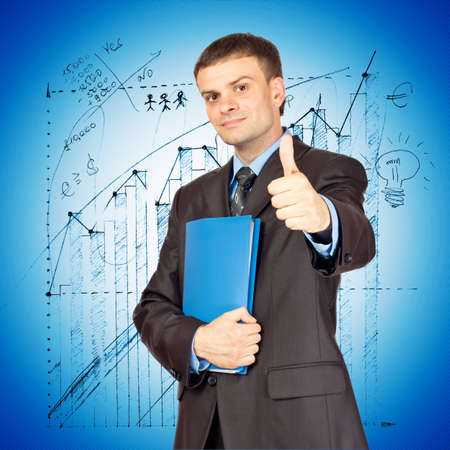 Young Businessmen making his thumb up saying OK and with folder in other hand on graph background Stock Photo - 12773985