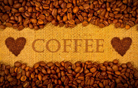 Coffee grains on the burlap background with copy space Stock Photo - 12774500
