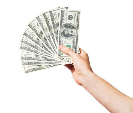 Männer Hand hält ein Fan von Dollar auf weißem Hintergrund Standard-Bild
