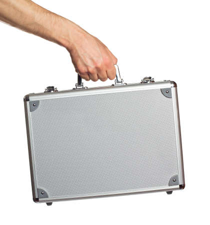 Silver metal briefcase in hand. Isolated on white Stock Photo - 12774416