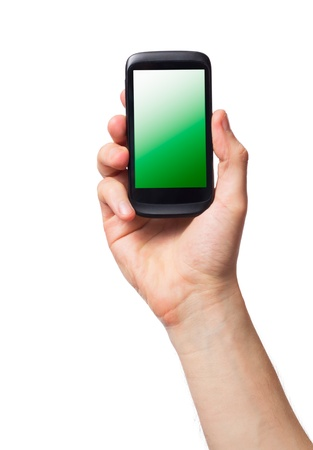 Cell phone (smartphone with touchscreen) in male hand on white Stock Photo