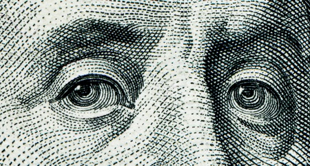 franklin: Fragment of $100 banknotes - human eyes