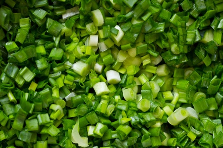 Fresh sliced scallions as background or texture Stock Photo