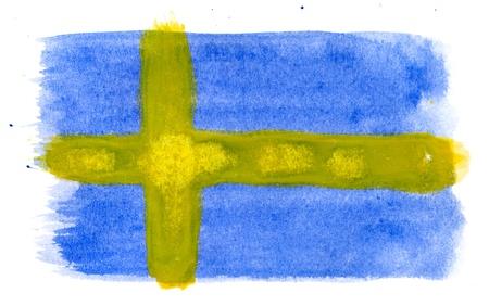 Brushstroke Flag of Sweden Stock Photo