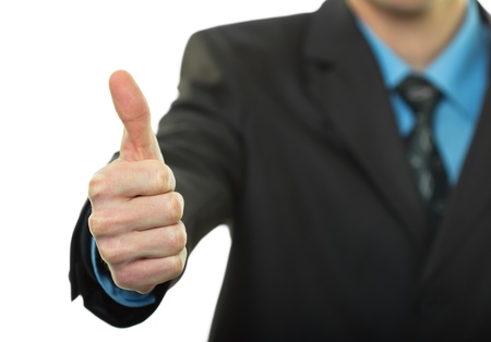 Business man hand with thumb up on white background Stock Photo - 13813589