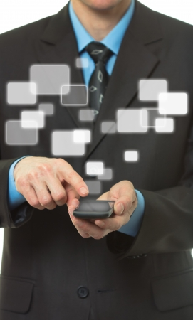 Businessman hand hold Touch screen mobile phone and virtual buttons Stock Photo - 13813590