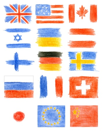 Collection of flags - drawing pencil Stock Photo - 14532815