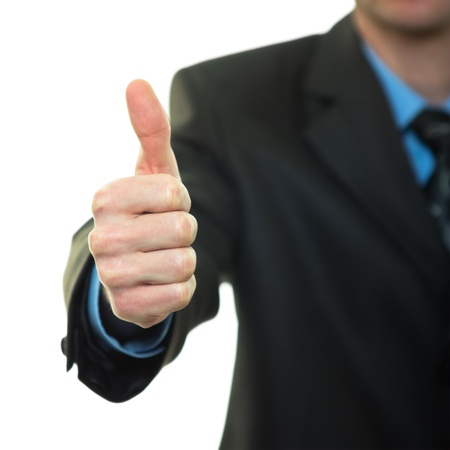 Business man hand with thumb up on white background Stock Photo - 14656011