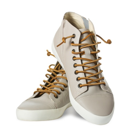 Mens leather shoes in a white background photo