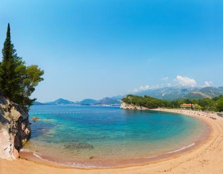 Pink sandy Milocher Beach. Montenegro, 6 kilometers southeast of Budva
