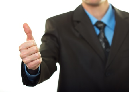 Business man hand with thumb up on white background Stock Photo - 14838048