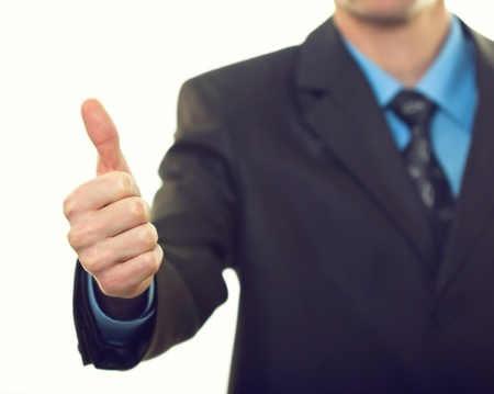 Business man hand with thumb up on white background Stock Photo - 15036023