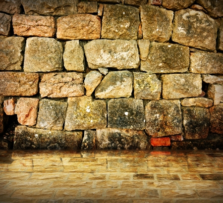 ancient prison: Stone wall background - An old stone wall makes an excellent background