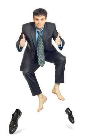 Jumping businessman on a white background Stock Photo - 15385617