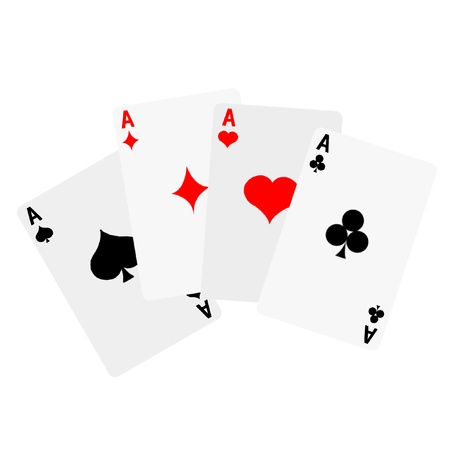 A Winning poker hand of four aces playing cards on white Illustration