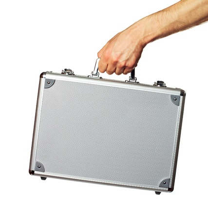 Silver metal briefcase in hand  Isolated on white Stock Photo - 15545926