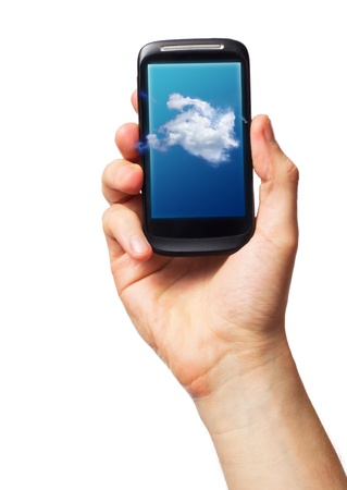Cloud computing on mobile  smartphone with Cloud Concept on screen photo