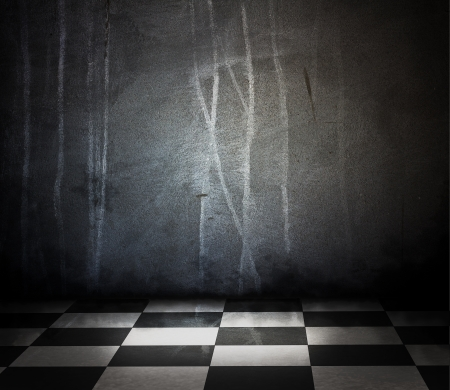 Empty of stone interior with checkered marble floor photo