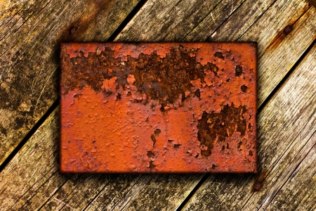 Wooden background with metal insert for your copy-space photo