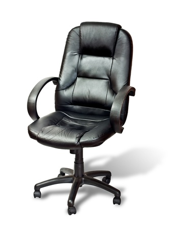 imitation leather: La sedia da ufficio da similpelle nera con ombra su bianco
