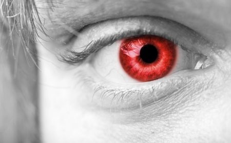 bloodshot: Close-up photo of a red vampires eye
