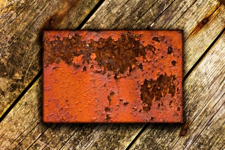 Wooden background with metal insert for your copy-space Stock Photo - 16214640