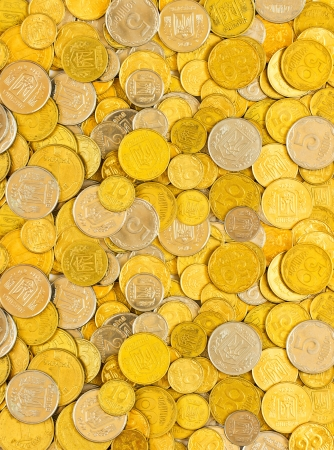 Background of the coins of Ukraine photo