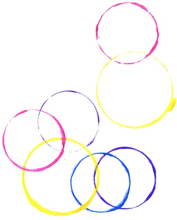 Colored circles made with paint on a white background Stock Photo - 16481273