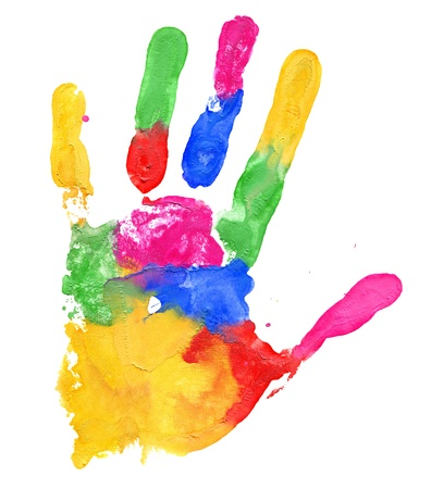 rainbow print: Close up of colored hand print on white background Stock Photo